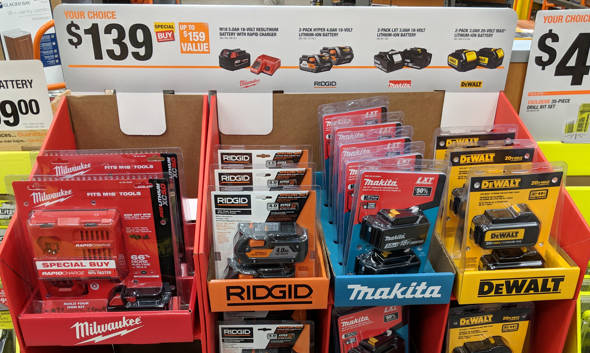 Home Depot Special Buy Li-ion Batteries for 139