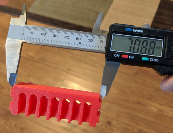 Measuring a 3D printed part with digital calipers
