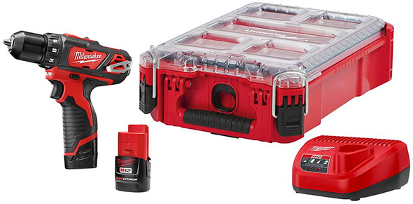 Milwaukee M12 Cordless Drill and Packout Tool Box Holiday 2018 Deal 2407-22PO