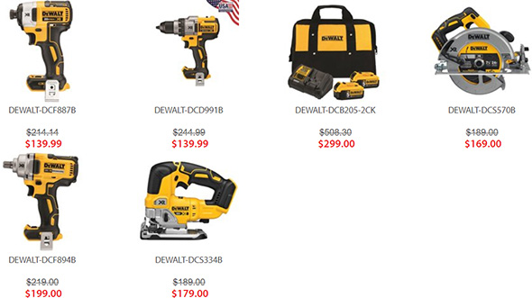 Acme Tools Dewalt 20V Free Brushless Bare Tool Promo 12-2018 Selection