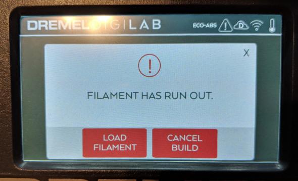 Dremel Digilab 3D45 Out of Filament
