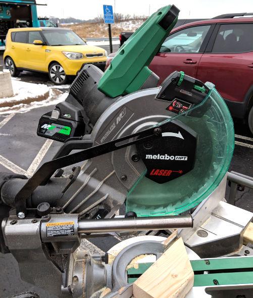 MetaboHPT 10inch 36V Miter Saw rails and laser adjuatment