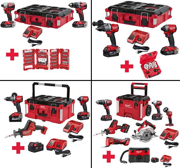 Milwaukee M18 Cordless Tool and Packout Bonus Combos Late Holiday 2018