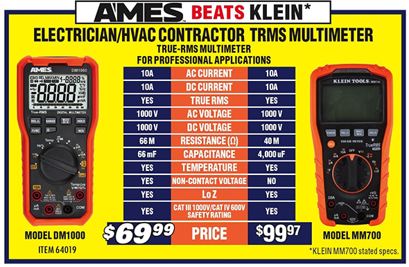 Harbor Freight Ames Beats Klein Multimeter Advertising