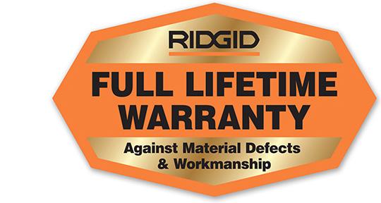 Ridgid Liftetime Warranty Badge