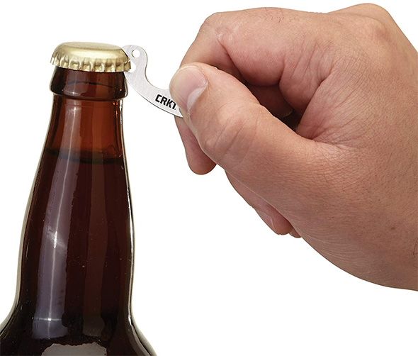 CRKT Snailor Compact Bottle Opener Opening a Drink