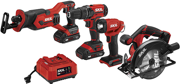 Skil 20V 4-Tool Cordless Power Tool Combo Kit with Drill LED and Saws