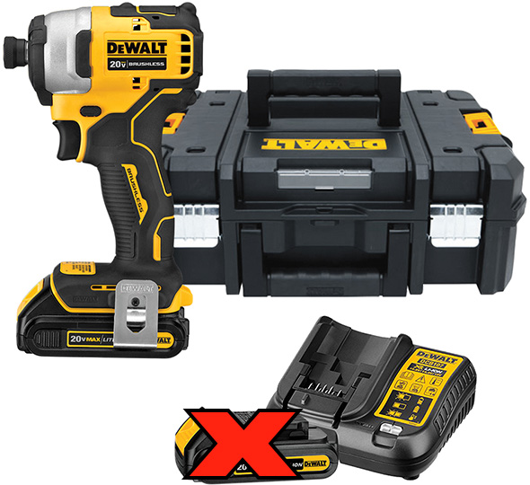 Dewalt Atomic Cordless Impact Driver Kit and TStak Tool Box Bundle