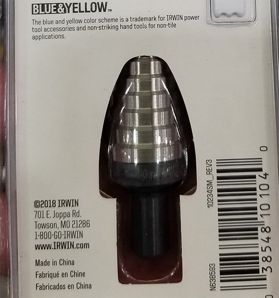 Irwin UniBit Step Drill Bit Made in China Label