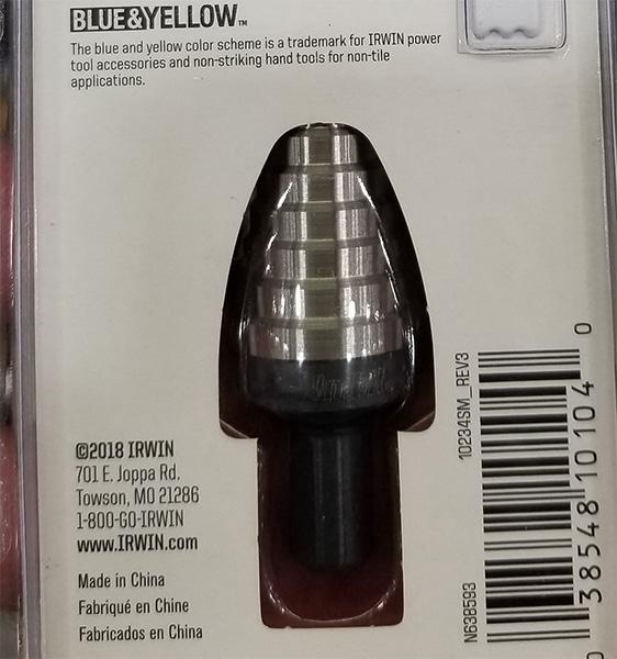 Irwin UniBit Step Drill Bit Made in China Label