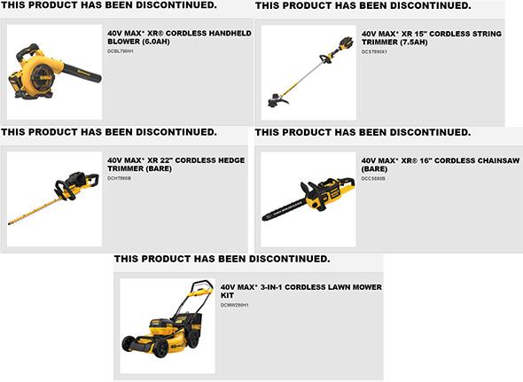 Dewalt 40V Max Cordless Outdoor Power Tools Discontinued