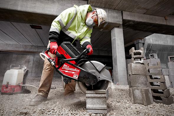 Milwaukee MX Fuel Cordless Cut-Off Saw Cutting Masonry Blocks
