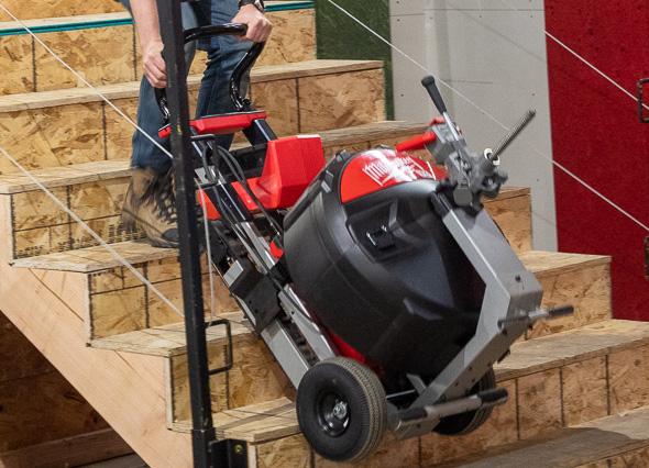 Milwaukee MX Fuel Cordless Drain Machine Climbing Stairs