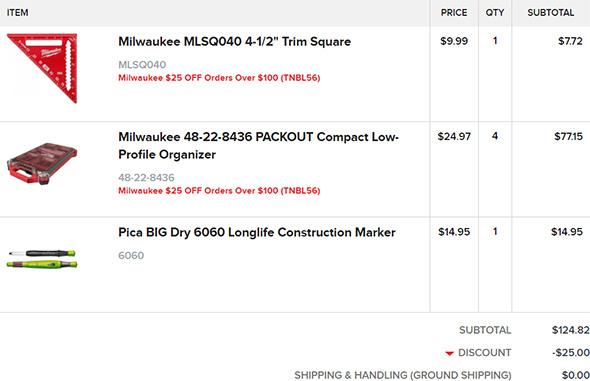Milwaukee Order from Tool Nut 10-15-19