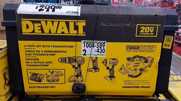 Home Depot Pro Black Friday 2019 Dewalt 4-Tool Cordless Power Tool Combo Kit with ToughSystem