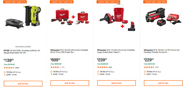 Home Depot Cordless Power Tool Deals of the Day 12-3-19 Page 6
