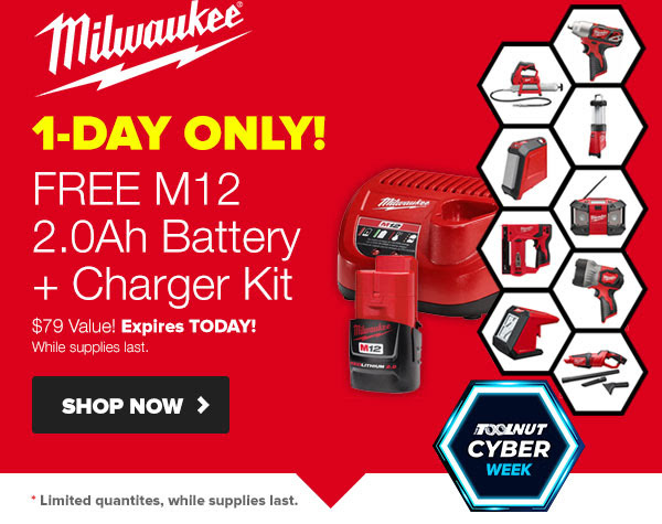 Tool Nut Cyber Thursday 2019 Milwaukee M12 Cordless Power Tool Deals