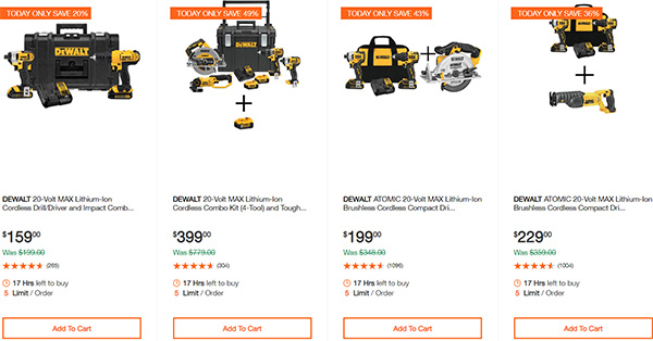 Dewalt Cordless Power Tool Deals Day 2-17-20 Page 1