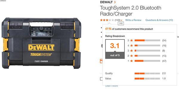 Dewalt ToughSystem Music 2 Home Depot User Reviews