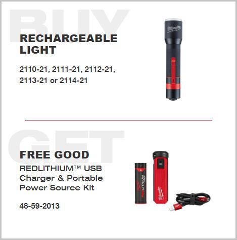 Milwaukee RedLithium USB Flashlight Rebate 042020