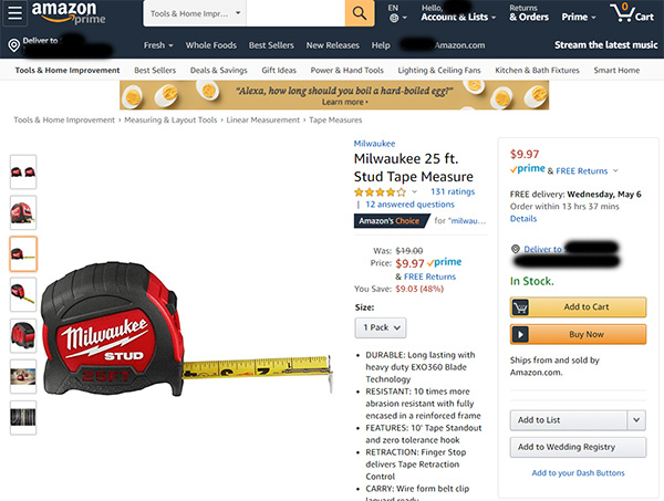Milwaukee Tape Measure Deal at Amazon