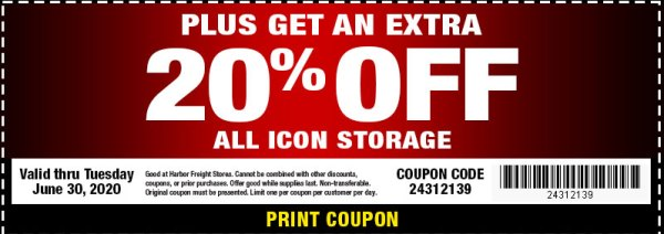 Harbor Freight Icon Tool Storage Coupon June 2020