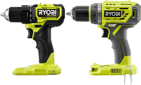 Ryobi 18V One HP Compact Brushless Drill Size Comparison
