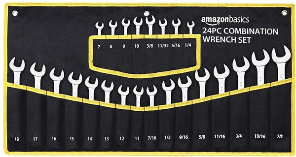 Amazon Basics 24pc SAE Metric Combination Wrench Set