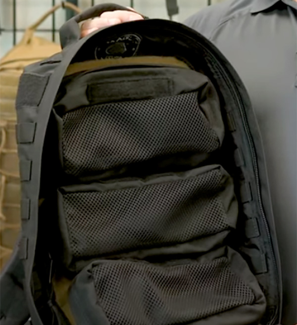 Maglite Tactical Backpack Pouches in Black Installed in Pack