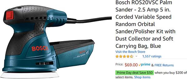 Bosch Random Orbit Sander Deal Amazon Prime Day 2020
