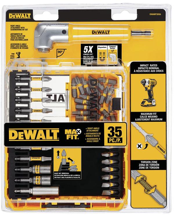 Dewalt DWAMF35RA MaxFit Screwdriver Bit Set and RA Adapter Packaging