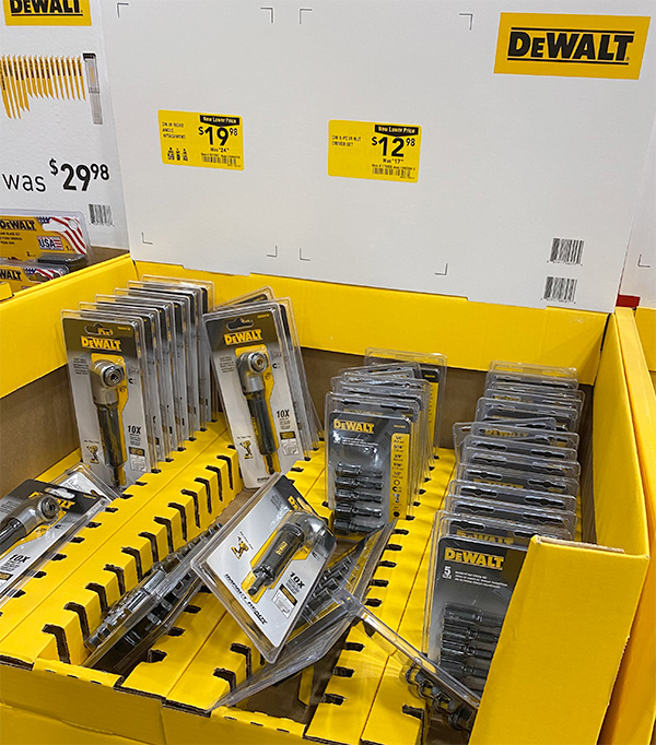 Dewalt Right Angle Adapter Display at Lowes