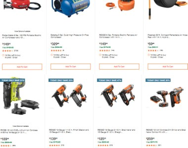 Home Depot Air Nailers and Compressors Deal of the Day 11-19-2020 Full Size