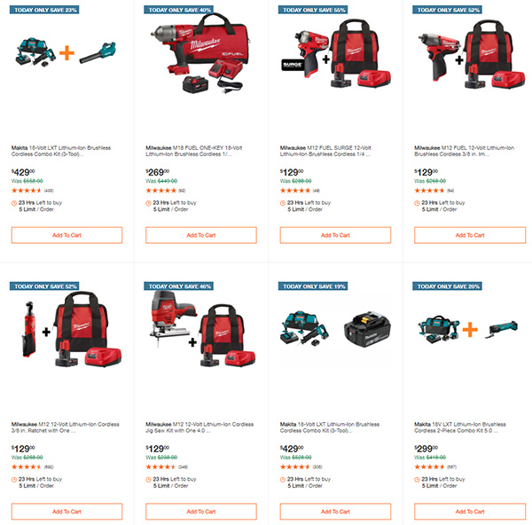 Home Depot Cyber Monday Dewalt Milwaukee Makita Tool Deals of the Day Page 3