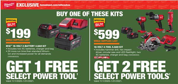 Home Depot Holiday 2020 Free Milwaukee Bonus Tools Offer