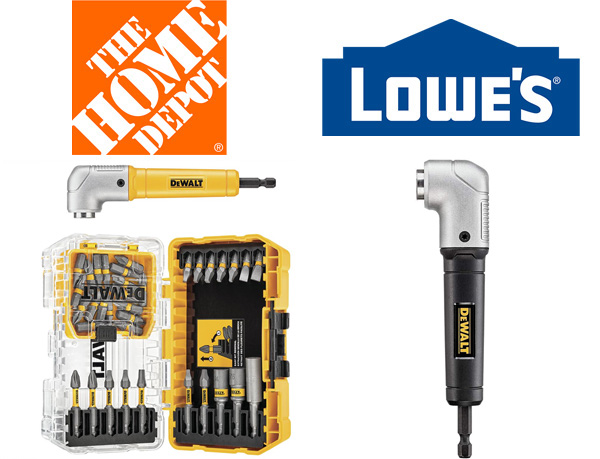 Home Depot vs Lowes Right Angle Impact Screwdriver Bit Attachment Deal Comparison