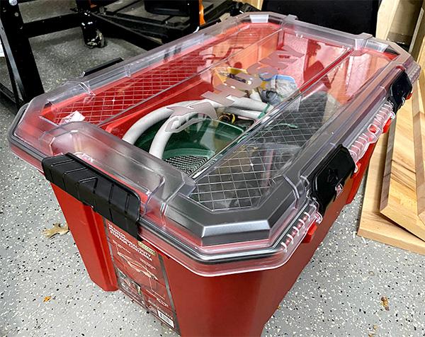 Husky Professional Storage Bin Filled with Gardening Supplies