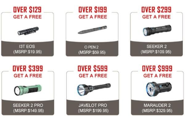 Olight Black Friday 2020 Free EDC Flashlight Tiers