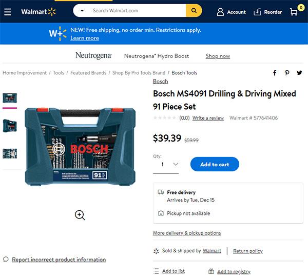 Bosch Drill Bit Set at Walmart 12-2020