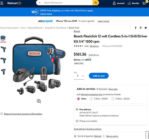 Bosch FlexiClick at Walmart 12-2020