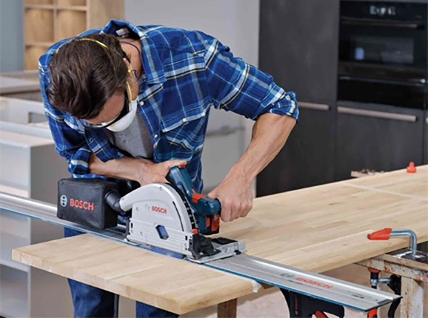 Bosch GKT18V-20GCL Cordless Track Saw in Use