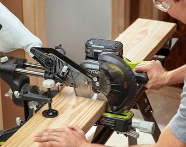 Ryobi PBT01B Cordless Miter Saw Cutting Wood Board