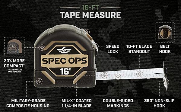 Spec Ops Tape Measure 16-foot
