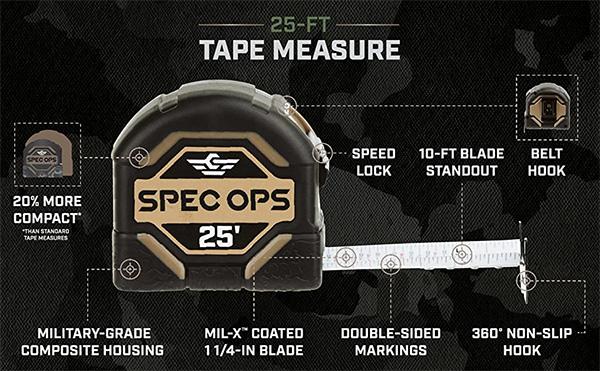 Spec Ops Tape Measure 25-foot