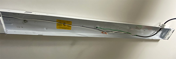 Ceiling-Mounted LED Worklight Wiring Done