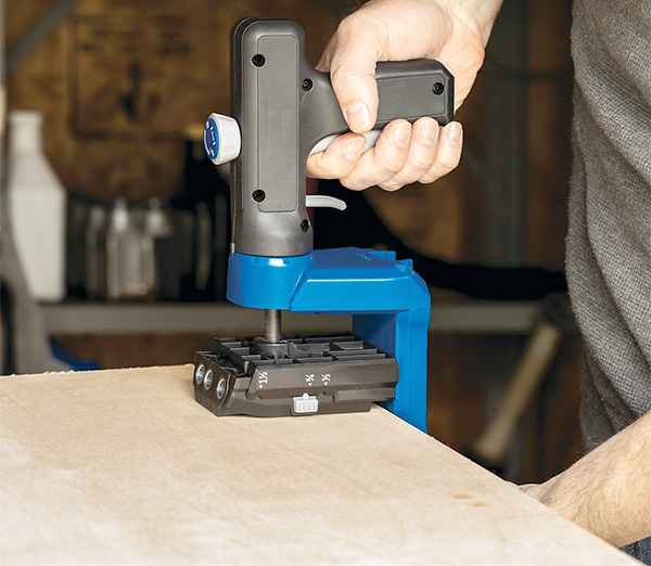 Kreg 520 PRO Pocket Hole Drilling Jig Clamped to Wood Sheet