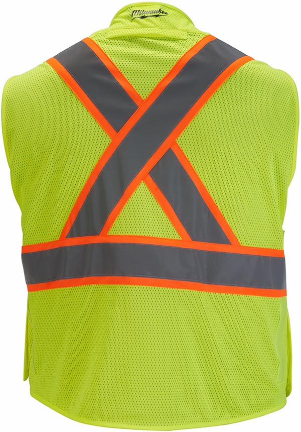 Milwaukee Tool High Visibility Yellow Breakaway Mesh Safety Vest Back