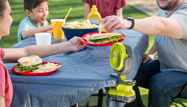 Ryobi Cordless Clamp-on Fan PCF02 on BBQ Table