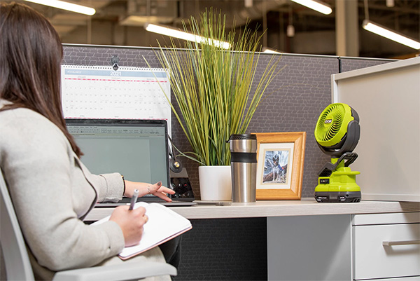 Ryobi Cordless Clamp-on Fan PCF02 on Work Desk