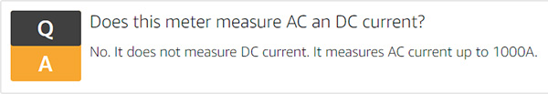 Amazon Commercial Clamp Meter Current Question